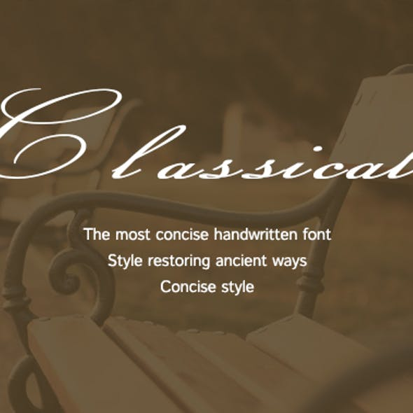 Classical-Simple handwritten font