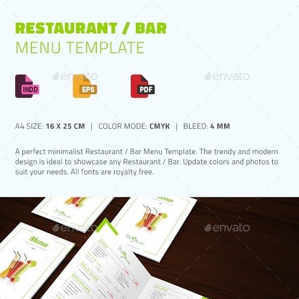 Restaurant / Bar Menu Template
