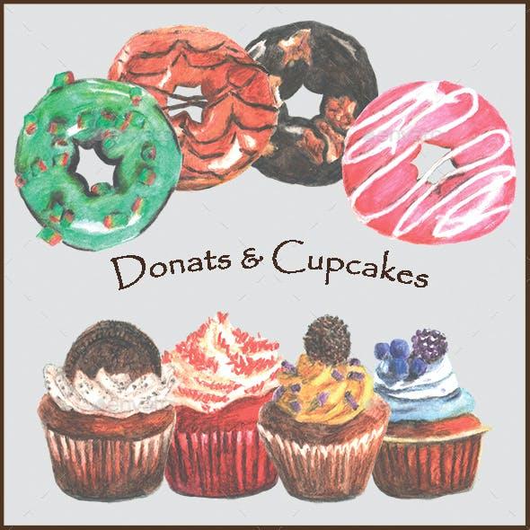 Watercolor Hand Drawn Donuts & Cupcakes