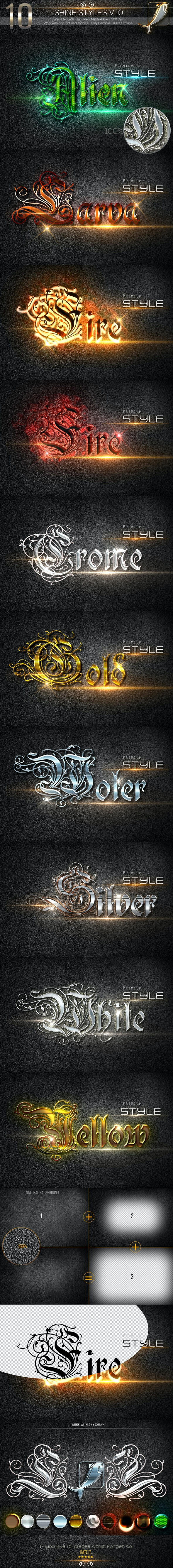 10 Shine Styles V.10 - Text Effects Styles
