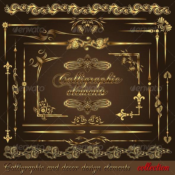 Gold calligraphic design elements vol2 - Flourishes / Swirls Decorative