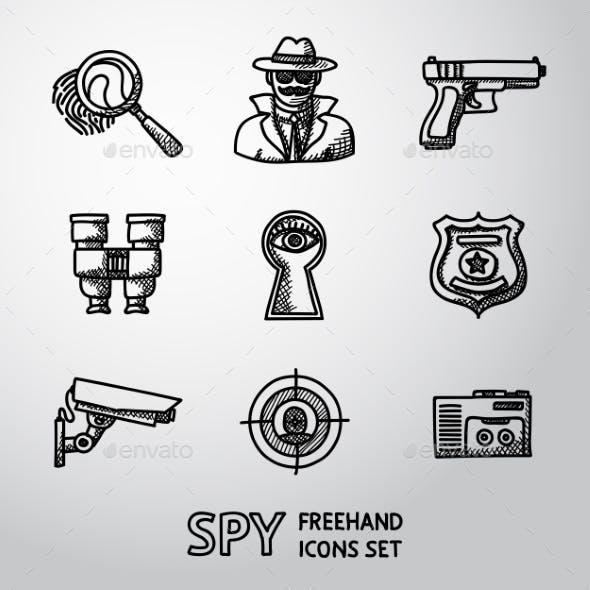 Set Of Spy Handdrawn Icons - Fingerprint, Spy, Gun