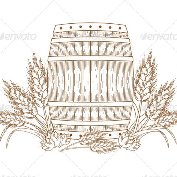 Barrel with wheat ears