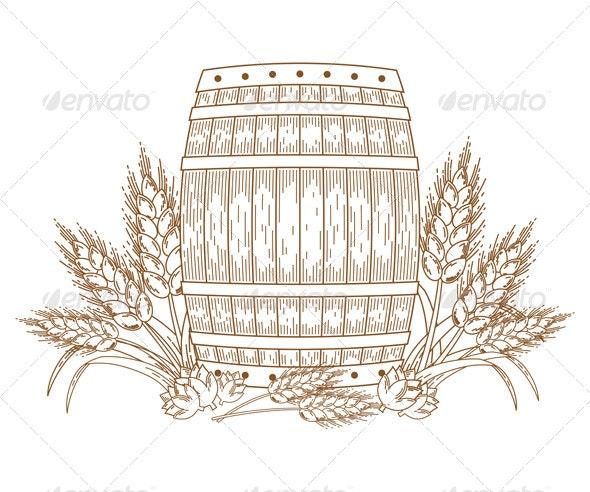 Barrel with wheat ears - Decorative Symbols Decorative