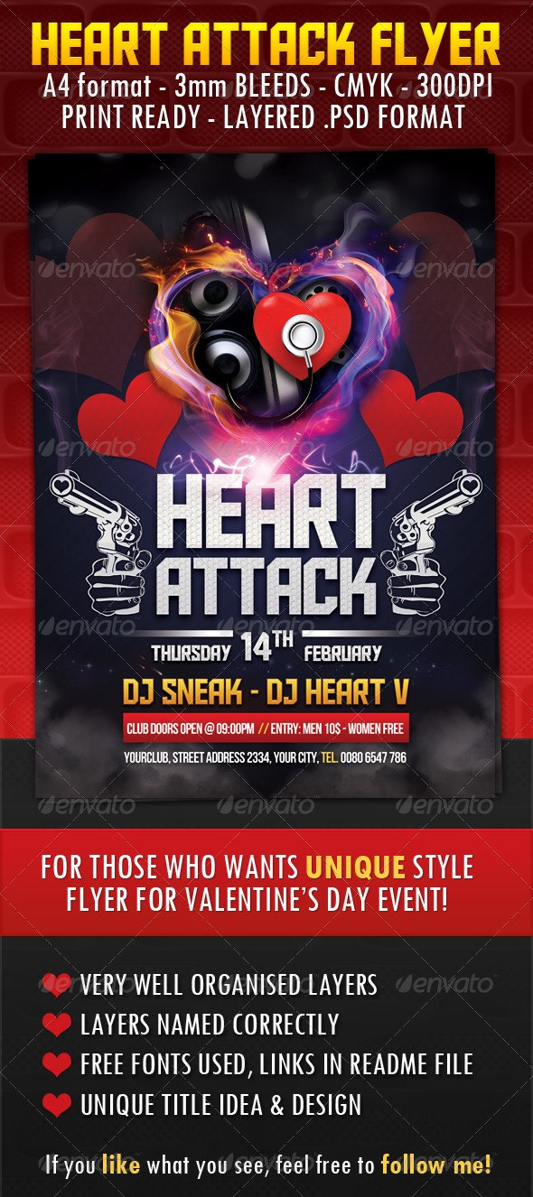 Heart Attack Flyer - Clubs & Parties Events