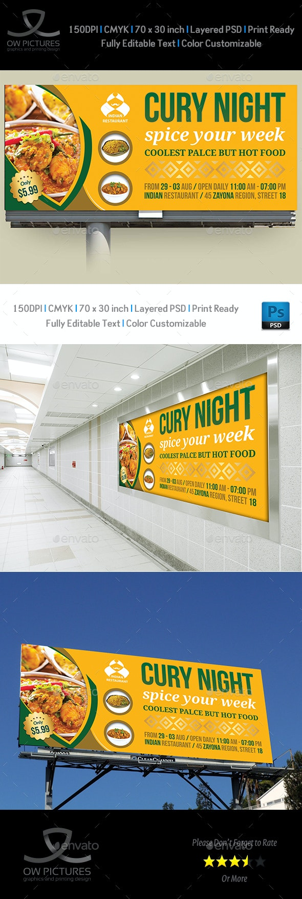 Indian Restaurant Billboard Template - Signage Print Templates