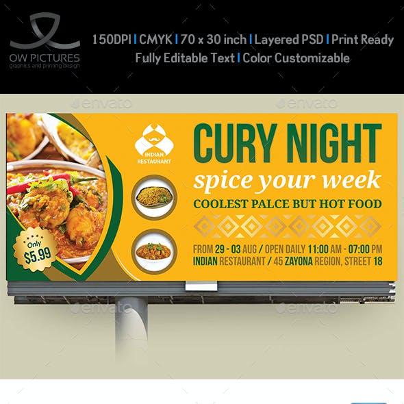 Indian Restaurant Billboard Template