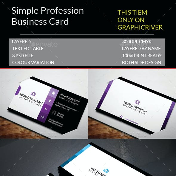 Simple Profession Business Card Template.140