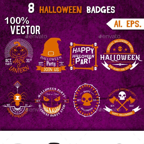 8 Halloween Badges