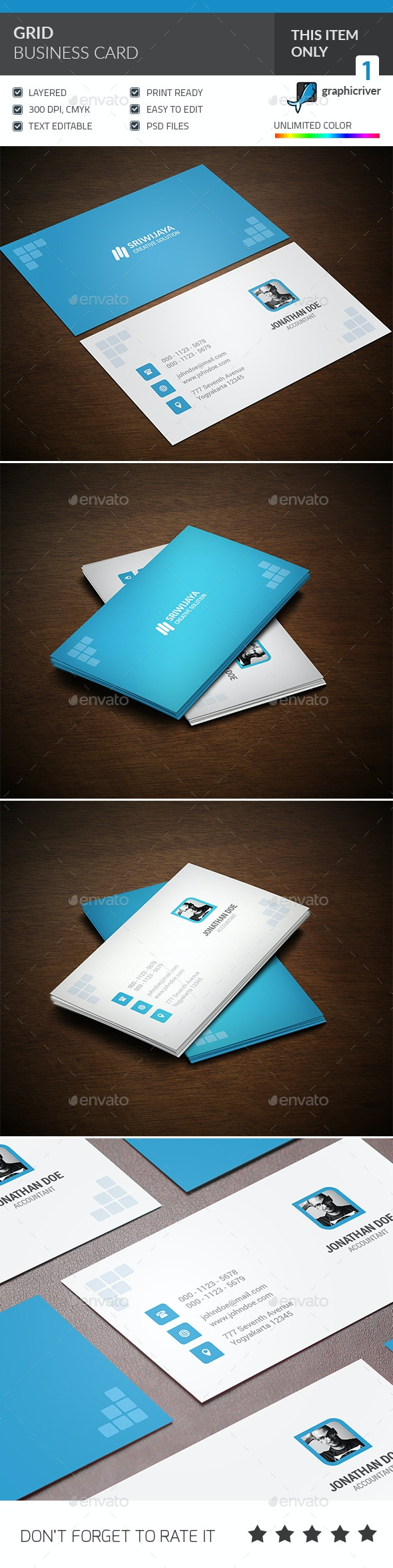 Grid Business Card - Corporate Business Cards