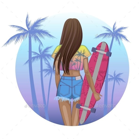 Girl Skater Character with Longboard