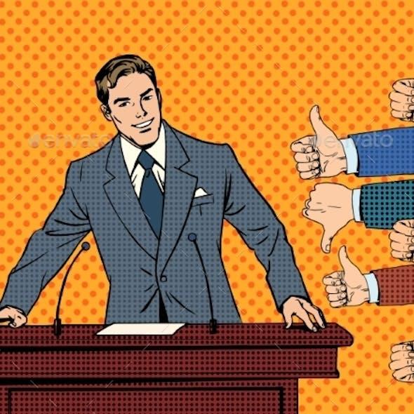 Businessman Speaker Concept Like and Dislike