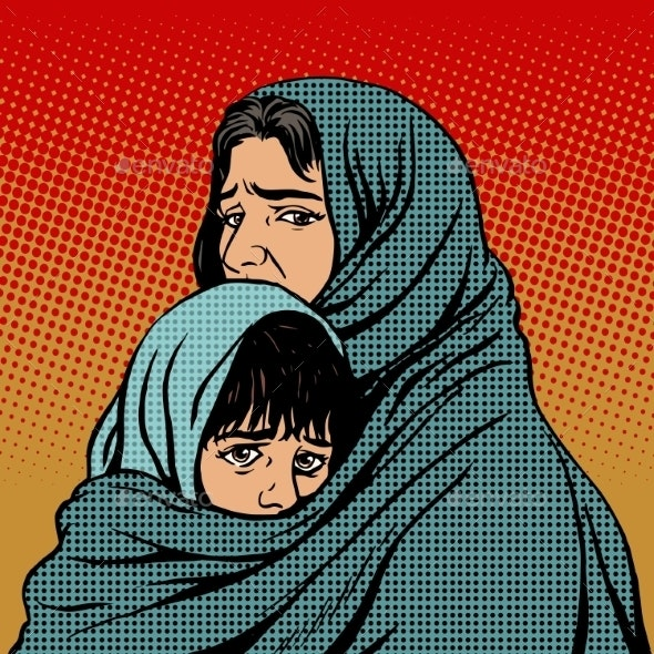 Refugee Mother and Child Migration Poverty - People Characters