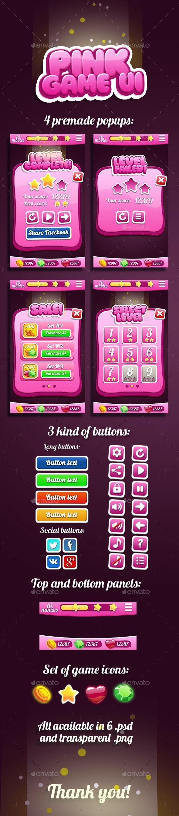 Pink Bubble Gum GUI - User Interfaces Game Assets