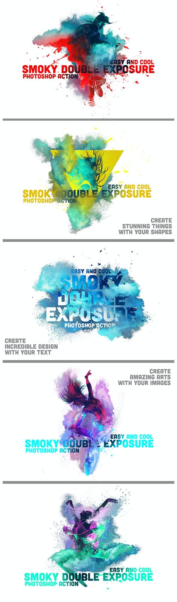 Smoky Double Exposure - Actions Photoshop