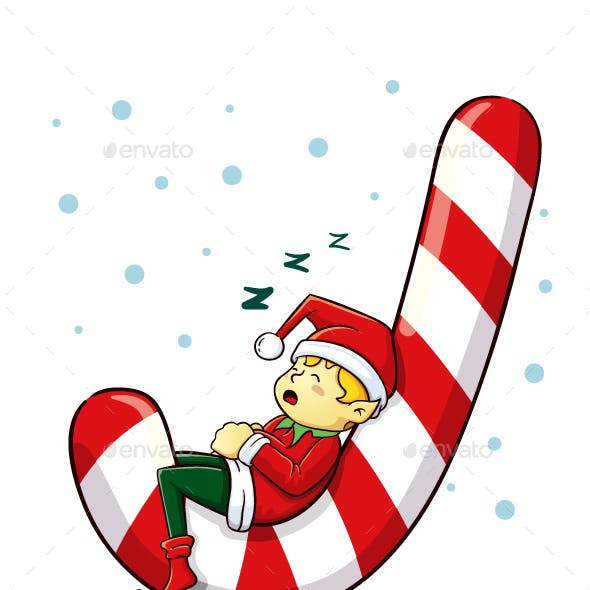 Christmas Elf Sleeping On A Candy Cane