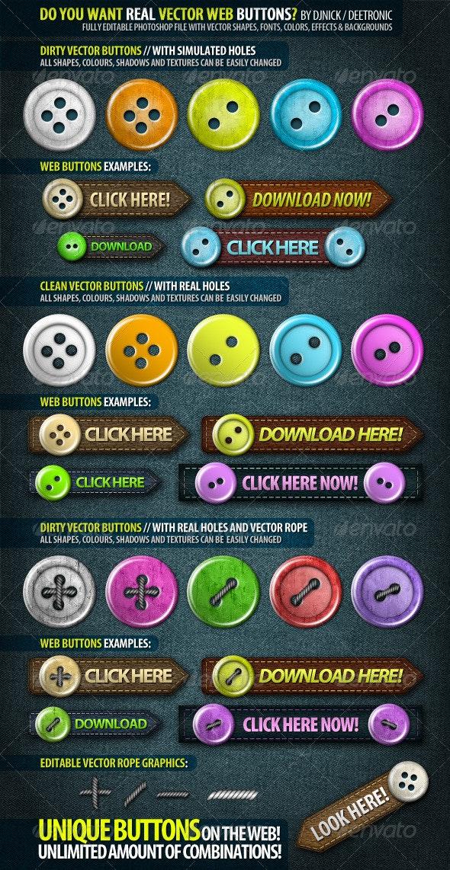 Web Elements: Unique Editable Vector Buttons PSD - Buttons Web Elements