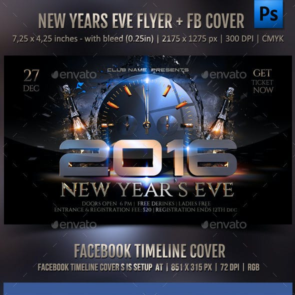 New Year Celebration Flyer + FB Cover