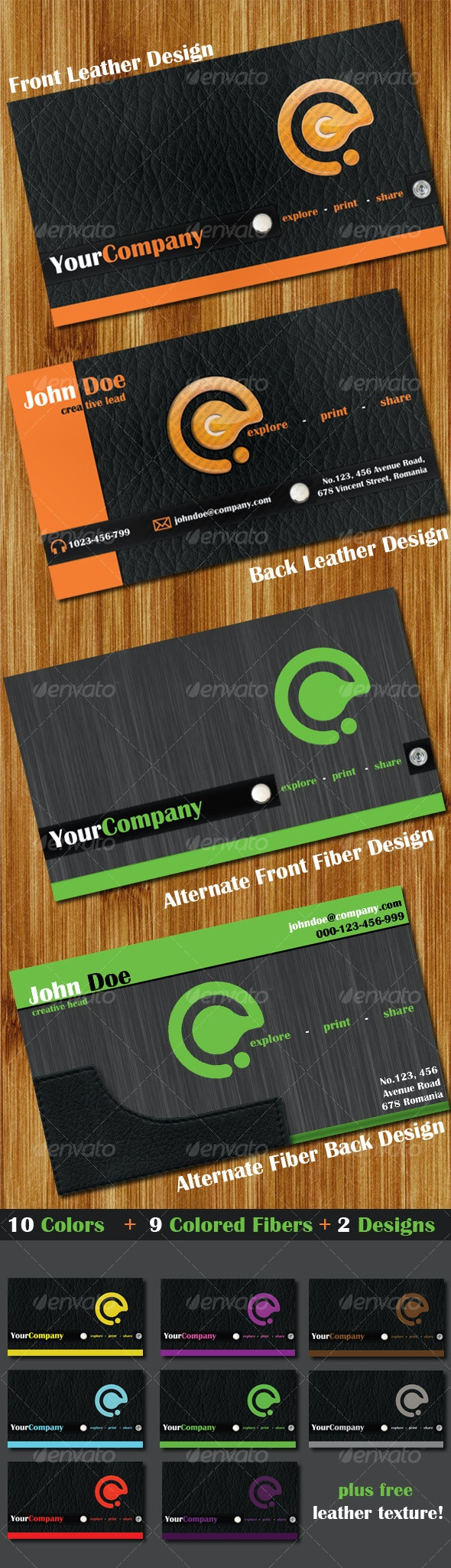 10 Colors (Leather + Fiber) 2 Business Cards - Real Objects Business Cards