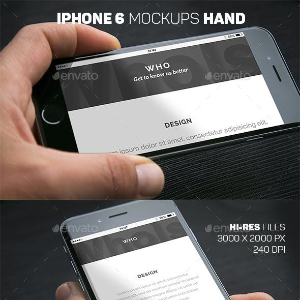 iPhone 6 Closeup Mockups Hand