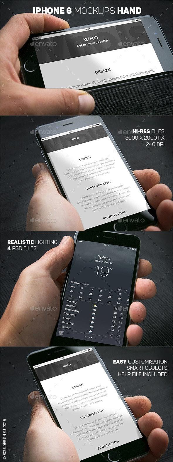 iPhone 6 Closeup Mockups Hand - Mobile Displays