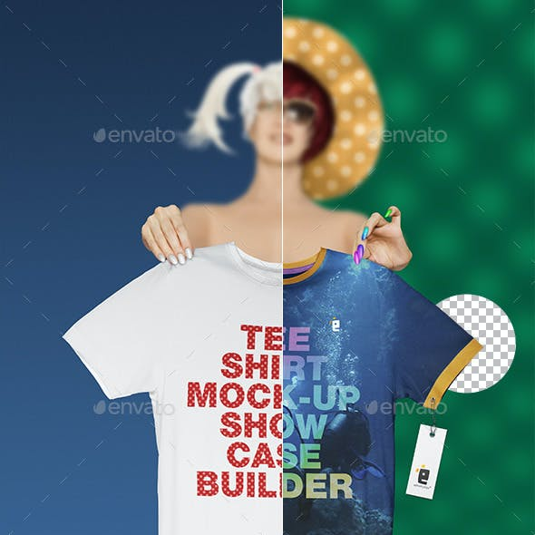 T-Shirt Mock-Up Showcase Builder Set 01 Girl