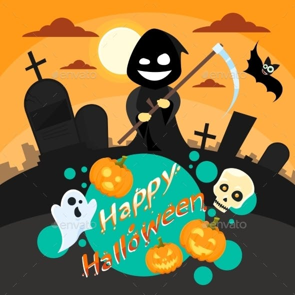 Halloween Cartoon Grim Reaper Smile Hold Scythe