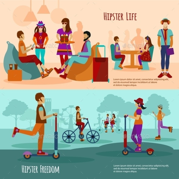 Hipster People Banner Set - Miscellaneous Vectors