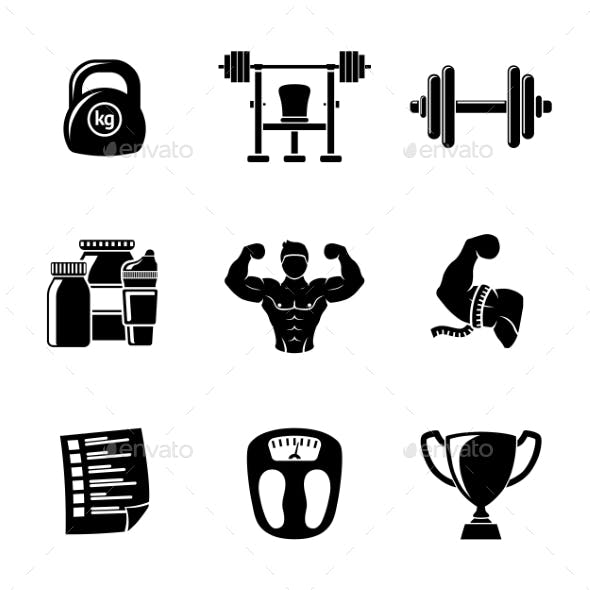 Set Of Bodybuilding Icons With - Dumbbell, Weight
