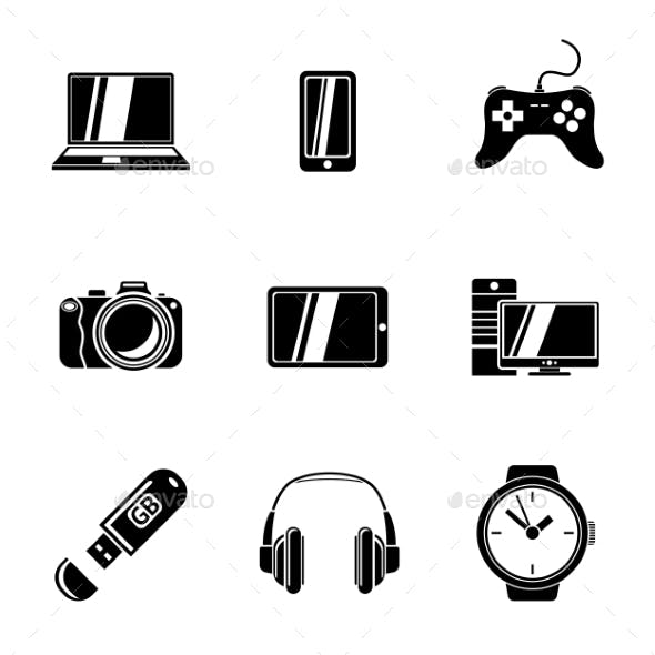 Set Of GADGET Icons With - Notebook, Phone