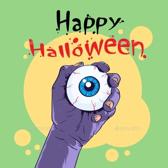 Zombie Hand Hold Eye Halloween Banner