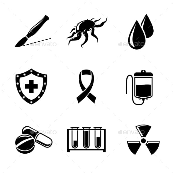 Set Of Cancer Icons With - Shield, Virus Cell