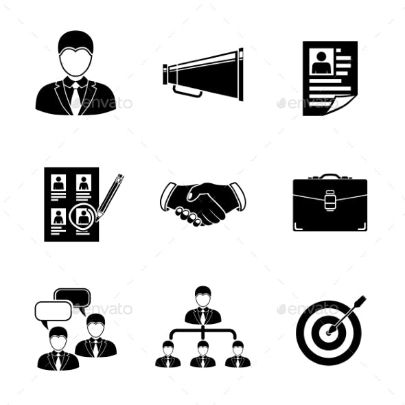 Set Of Head Hunter Icons - Handshake, Resume