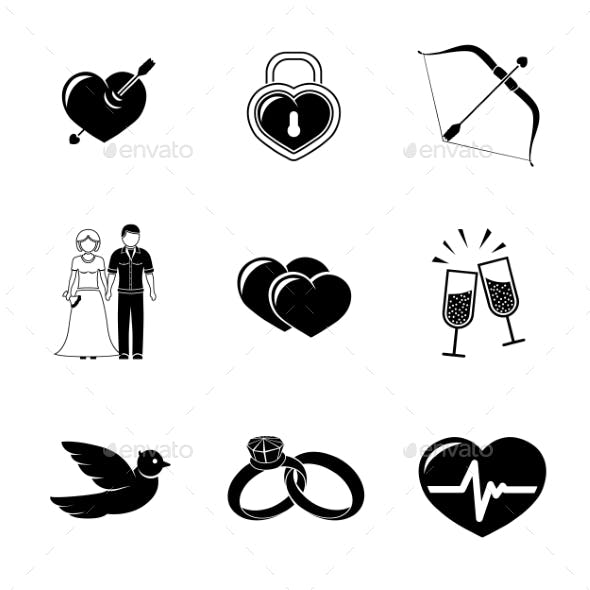 Set Of Love, Amour Icons - Heart With Arrow, Two