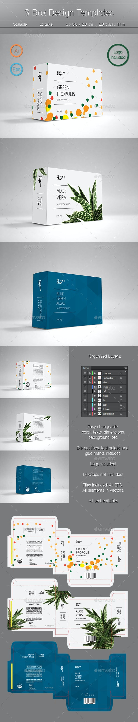 3 Box Design Templates - Packaging Print Templates