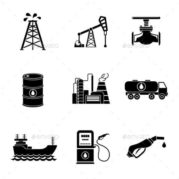Set Of Oil Icons - Barrel, Gas Station, Rigs