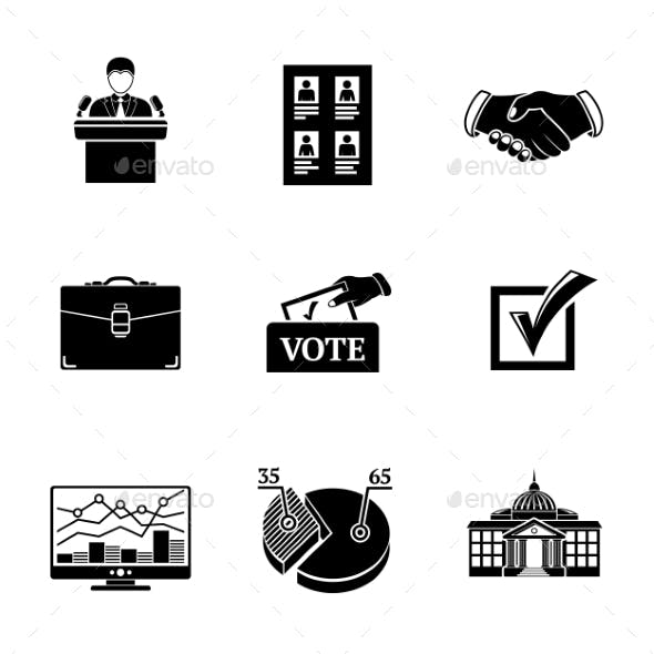 Set Of ELECTION Icons  - Votebox, Handshake
