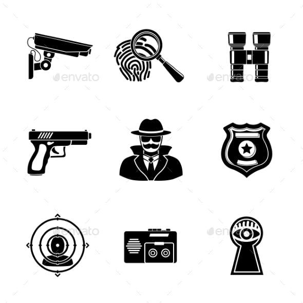 Set Of Spy Icons - Fingerprint, Spy, Gun
