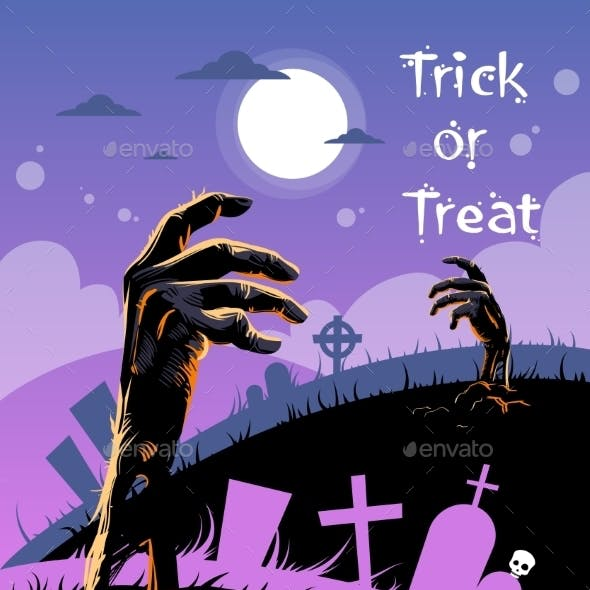 Halloween Banner Cemetery Graveyard Hand