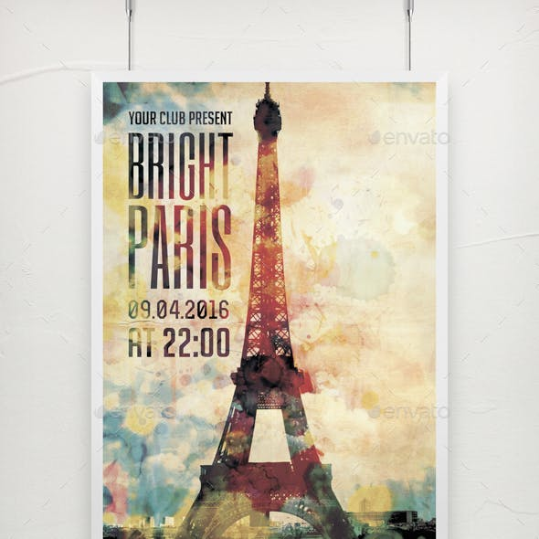 Bright Paris Party Poster Template