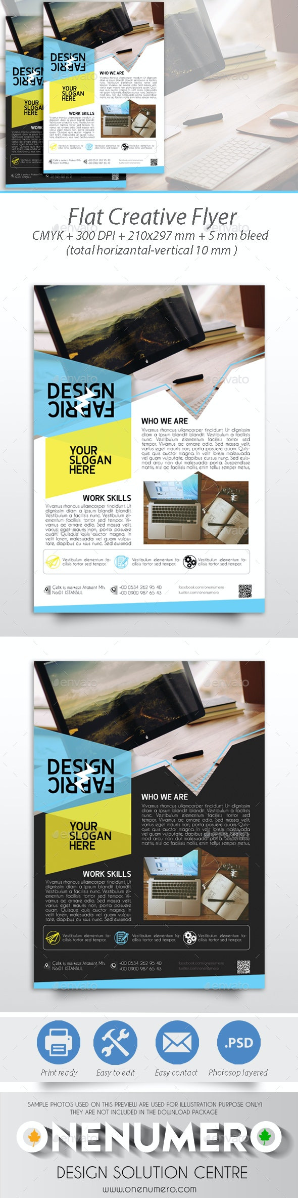 Flat Creative Flyer - Corporate Business Cards