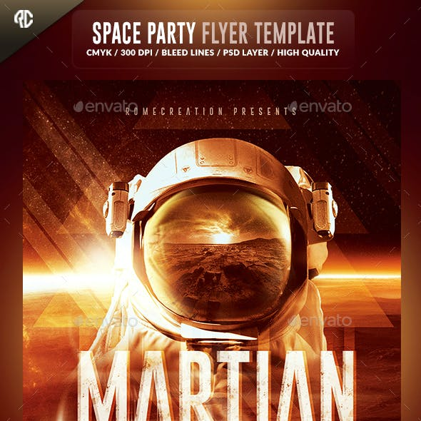 Martian Space Night  | Psd Flyer Template