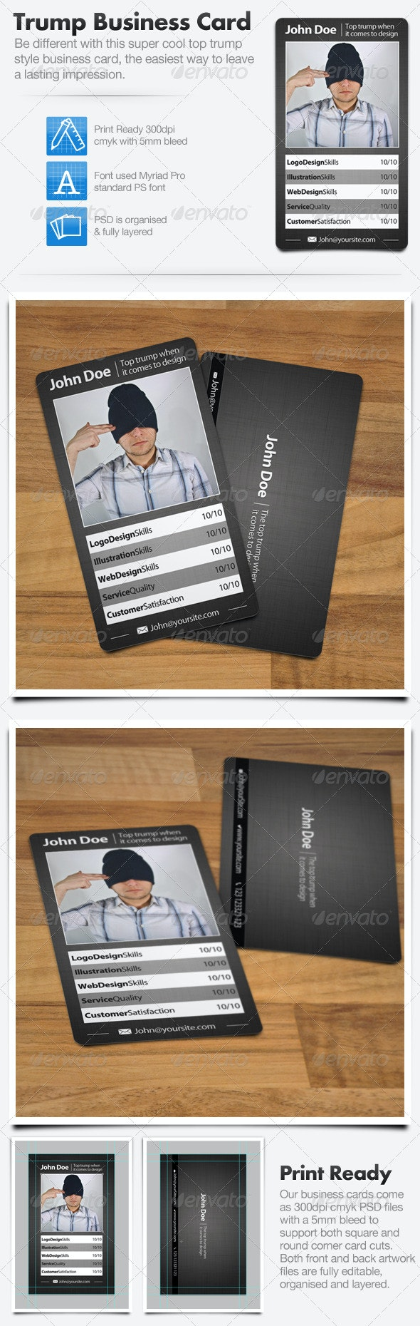 Trading Card Style Business Card - Creative Business Cards