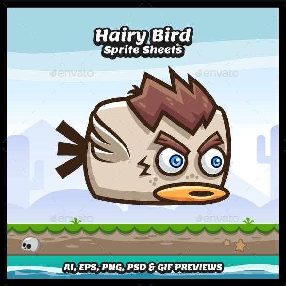 Flappy Hairy Bird Sprite Sheets