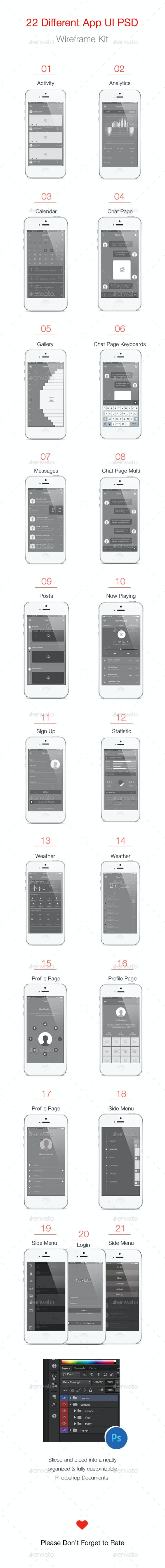 Mobile App Wireframe Ui Kit - User Interfaces Web Elements