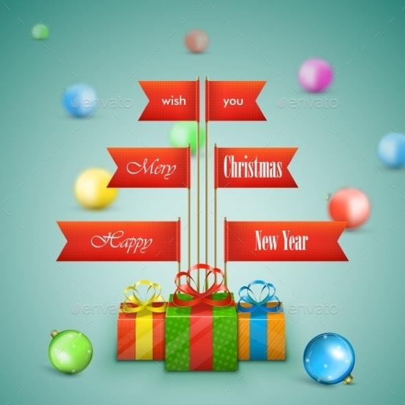 Paper Christmas Tree Vector Illustration.  - Christmas Seasons/Holidays