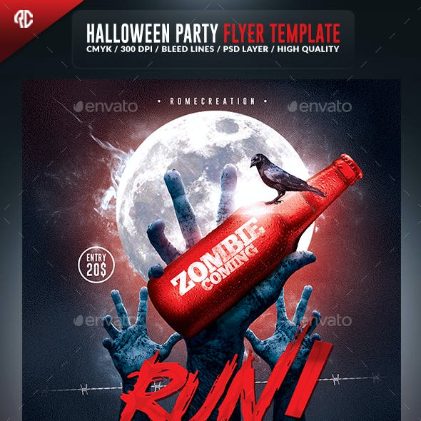 Halloween Zombie Party | Psd Flyer Template