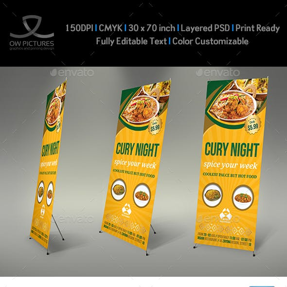 Indian Restaurant Signage Roll up Banner Template