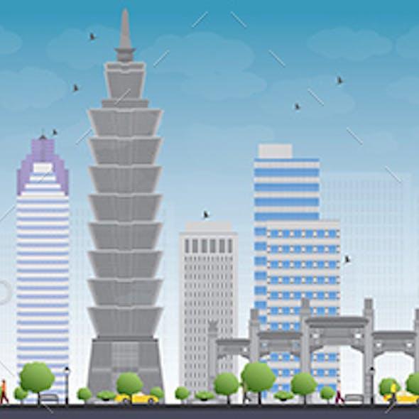 Taipei Skyline with Grey Landmarks and Blue Sky.