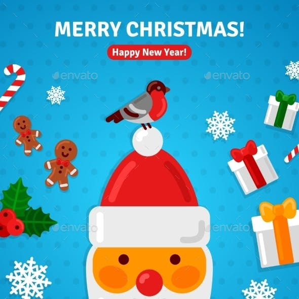 Christmas Greeting Card Poster Concept With Santa